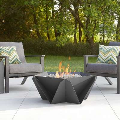 Hartsel Geometric Propane Fire Pit Outdoor Fireplace Fire Table for Backyard or Patio Gray