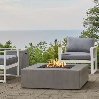 Low Square GFRC Outdoor Natural Gas or Propane Fire Pit Fireplace Fire Table for Backyard or Patio