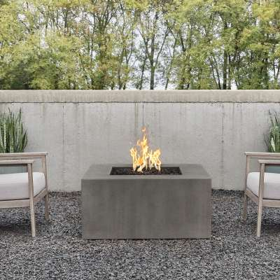 Casual Square GFRC Outdoor Natural Gas or Propane Fire Pit Fireplace Fire Table for Backyard or Patio