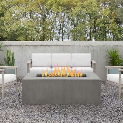 Casual Rectangle GFRC Outdoor Natural Gas or Propane Fire Pit Fireplace Fire Table for Backyard or Patio