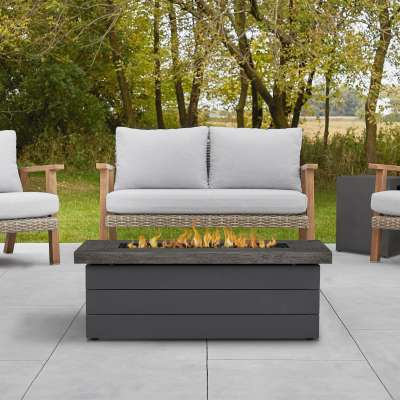 Sullivan Rectangle Propane Fire Pit Outdoor Fireplace Fire Table for Backyard or Patio