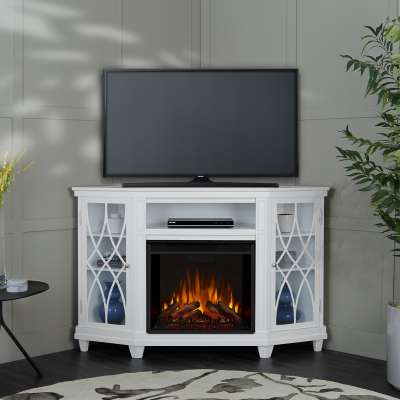 Lynette Corner Indoor Electric Fireplace Entertainment Center TV Stand Media Cabinet Media Console Mantel Heater