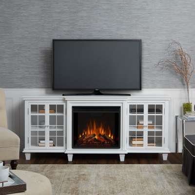 Marlowe Indoor Electric Fireplace Entertainment Center TV Stand Media Cabinet Media Console Mantel Heater