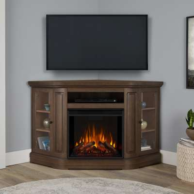 Windom Corner Indoor Electric Fireplace Entertainment Center TV Stand Media Cabinet Media Console Mantel Heater