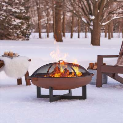 La Porte Wood Burning Fire Pit Outdoor Fire Bowl Fireplace for Backyard Patio Camping