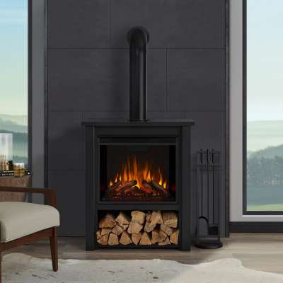 Hollis Indoor Electric Fireplace with Optional Stove Pipe Chimney Portable Heater