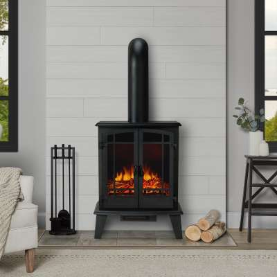 Foster Indoor Electric Fireplace with Optional Stove Pipe Chimney Portable Heater