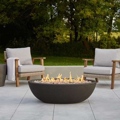 Riverside Oval Propane Fire Pit Fire Bowl Outdoor Fireplace Fire Table for Backyard or Patio
