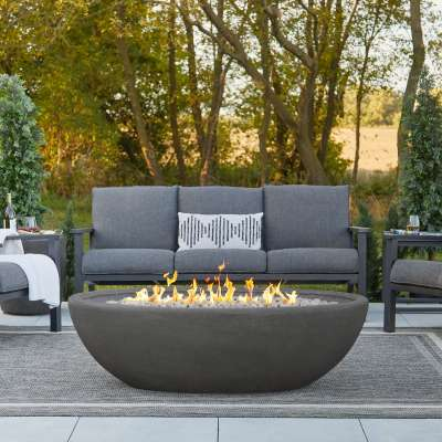 Riverside Large Oval Fire Pit Outdoor Fireplace Fire Table for Backyard or Patio Gray
