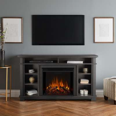 Belford Indoor Electric Fireplace Entertainment Center TV Stand Media Cabinet Media Console Mantel Heater