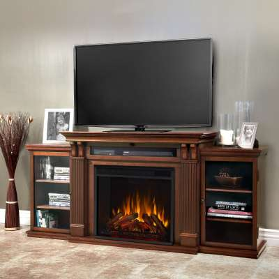 Calie Indoor Electric Fireplace Entertainment Center TV Stand Media Cabinet Media Console Mantel Heater with Shelves