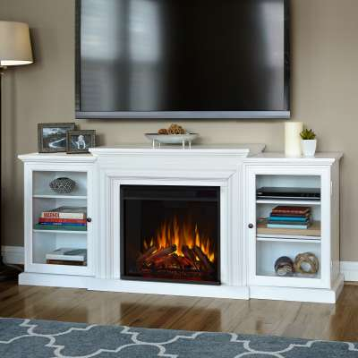 Frederick Indoor Electric Fireplace Entertainment Center TV Stand Media Cabinet Media Console Mantel Heater with Shelves