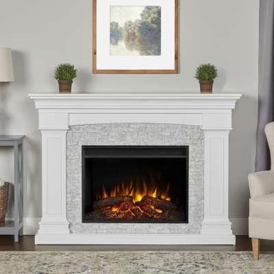 Deland Grand Indoor Electric Fireplace with Mantel Portable Heater