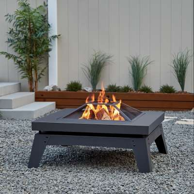 Breton Wood Burning Fire Pit Outdoor Fire Bowl Fireplace for Backyard Patio Camping