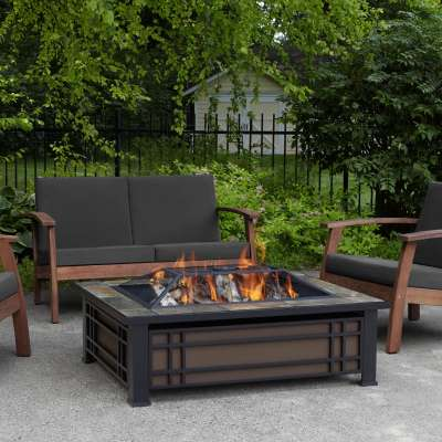 Hamilton Wood Burning Fire Pit Outdoor Fire Bowl Fireplace for Backyard Patio Camping