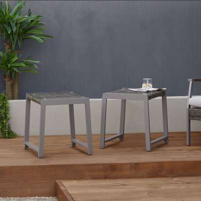 Calvin Outdoor End Table Set Patio Side Table Outdoor Coffee Table Patio Furniture