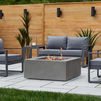 Baltic Square Natural Gas or Propane Fire Pit Outdoor Fireplace Fire Table for Backyard or Patio