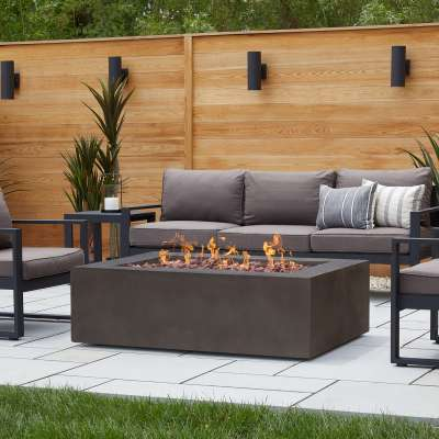 Baltic Rectangle Natural Gas or Propane Fire Pit Outdoor Fireplace Fire Table for Backyard or Patio