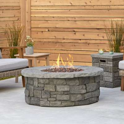 Sedona Round Propane Fire Pit Outdoor Fireplace Fire Table for Backyard or Patio