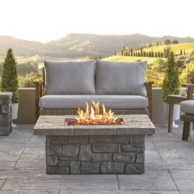 Sedona Square Propane Fire Pit Outdoor Fireplace Fire Table for Backyard or Patio