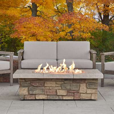 "Sedona 52"" Rectangle Propane Fire Pit Outdoor Fireplace Fire Table for Backyard or Patio"