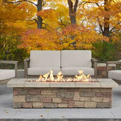 "Sedona 66"" Rectangle Propane Fire Pit Outdoor Fireplace Fire Table for Backyard or Patio"