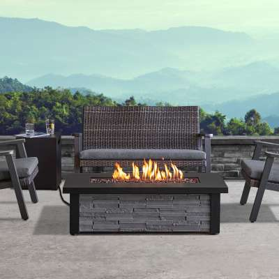 Berthoud Rectangle Outdoor Propane Fire Pit Fireplace Fire Table for Backyard or Patio