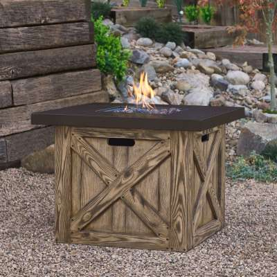 Farmhouse Propane Fire Pit Outdoor Fireplace Fire Table for Backyard or Patio