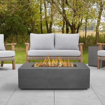 "Aegean 42"" Rectangle Propane Fire Pit Outdoor Fireplace Fire Table for Backyard or Patio"