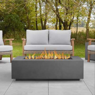 "Aegean 50"" Rectangle Propane Fire Pit Outdoor Fireplace Fire Table for Backyard or Patio"