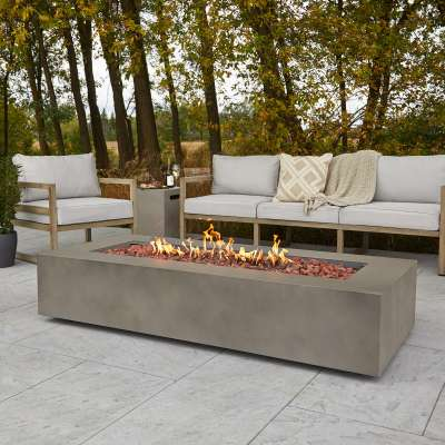 "Aegean 70"" Rectangle Propane Fire Pit Outdoor Fireplace Fire Table for Backyard or Patio Mist Gray"