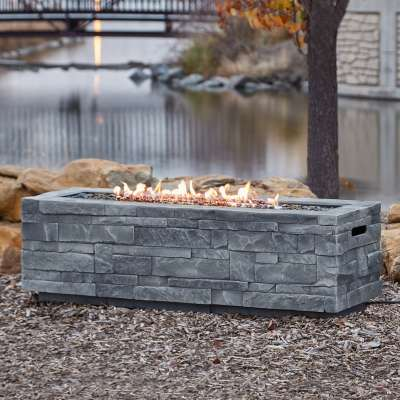 Ledgestone Rectangle Propane Fire Pit Outdoor Fireplace Fire Table for Backyard or Patio