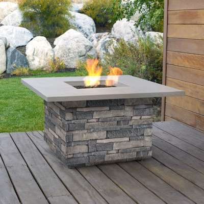 Ledgestone Square Propane Fire Pit Outdoor Fireplace Fire Table for Backyard or Patio